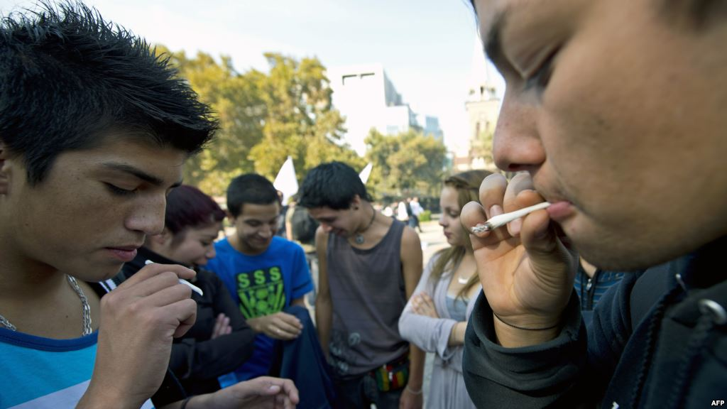 Youngsters smoke marijuana joints during a march for the legalization of cannabis in Santiago, on May 5, 2012, as part of the 2012 Global Marijuana March which is being held in hundreds of cities worldwide. (photo: AFP/Martin Bernetti)
