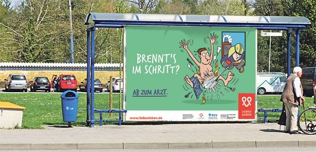 """Kampagne """"Liebesleben"""" macht auf alle sexuell übertragbaren Krankheiten aufmerksam, nicht nur auf Aids. (© [M] Plakat: BZgA / haltestelle: Illian)"""
